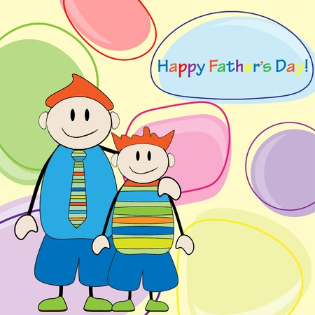 Happy Father s Day Dad and son card greeting  Vector