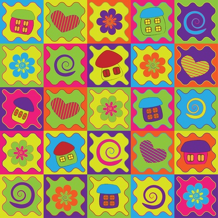 Abstract background with colorful cartoon houses  Illustration