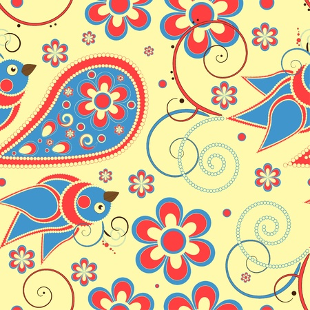Flower and birds seamless pattern Vector