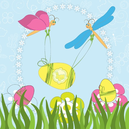 Easter greeting card with butterfly and dragonfly Stock Vector - 13149848