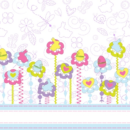 Easter greeting card with flowers  Stock Vector - 13149847