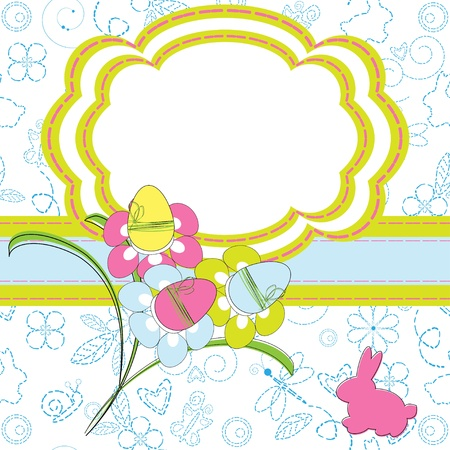 Easter greeting card with rabbit and flowers  Stock Vector - 13149854