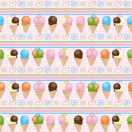 Ice cream seamless background  Vector