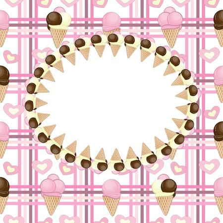 Ice cream greeting card  Vector