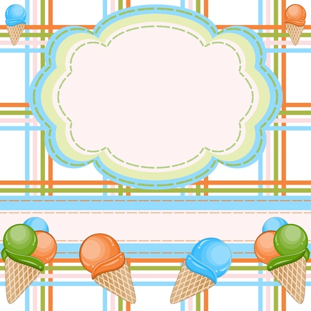 ice cream soft: Invitation card with ice creams Illustration