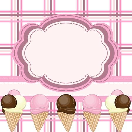 coppa di gelato: Biglietto di auguri con gelati Vettoriali