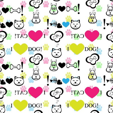 puppy love: Dog and cat seamless pattern