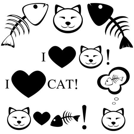 Cat with fish bone illustration Illustration