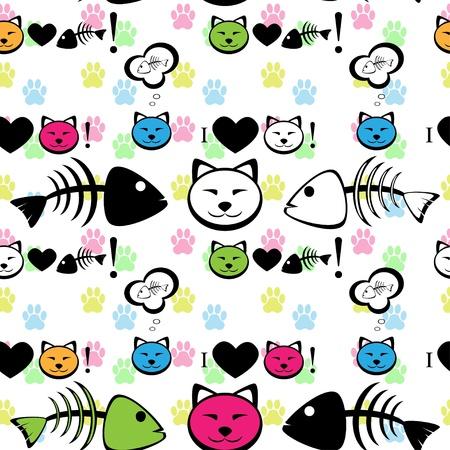 Cat with fish bone seamless pattern