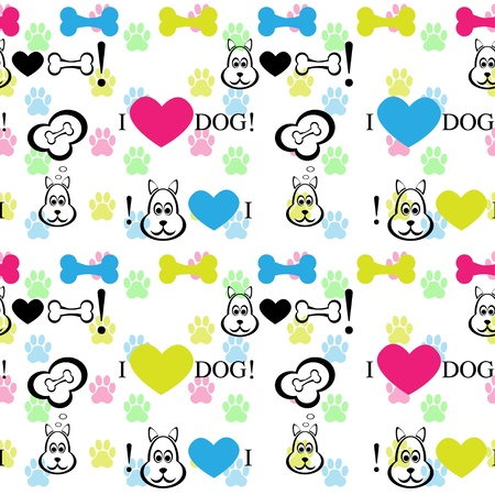 Dog with bone seamless pattern  Illustration