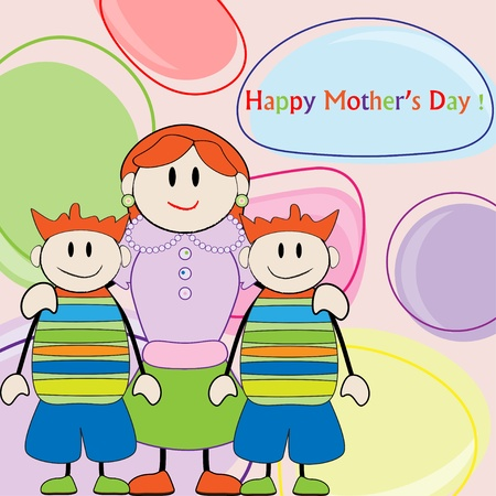 Mothers day greeting. Mom and sons twins Vector