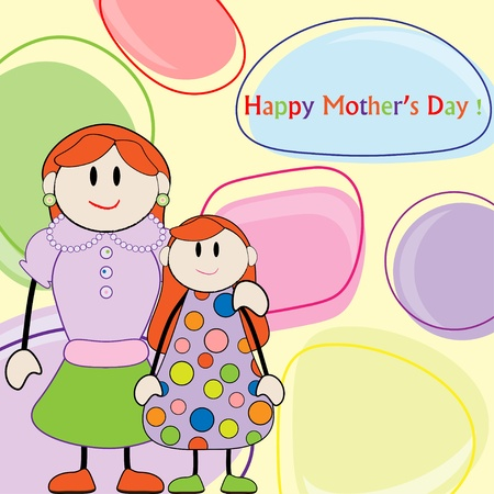 Mothers day greeting. Mom with daughter Vector