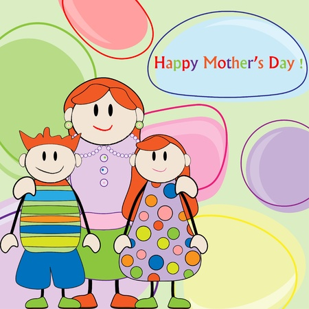 Mothers day greeting. Mom with son and daughter Vector