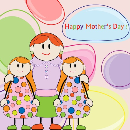Mothers day greeting. Mom and daughters twins Vector