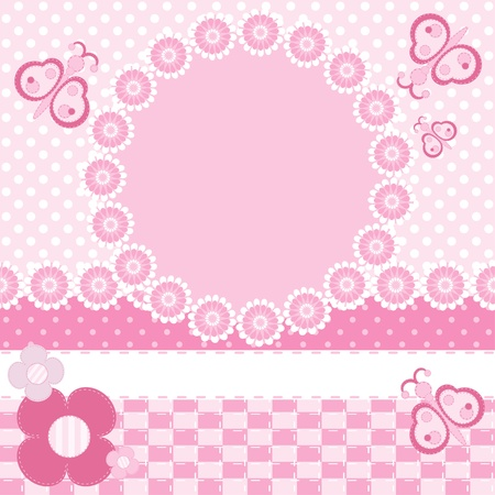 Invitation card with frame.Scrapbook elements  Vector