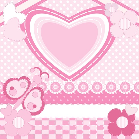 Greeting card with heart.Scrapbook elements  Vector