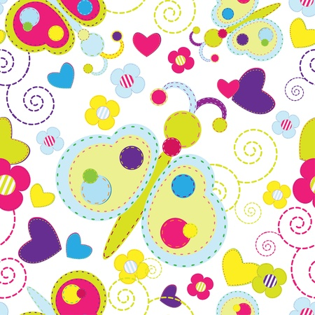 Butterfly and flower colorful seamless background  Vector