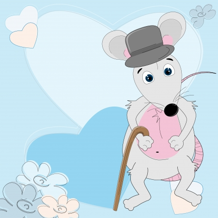 Mouse gentleman. Valentine day motives  Vector