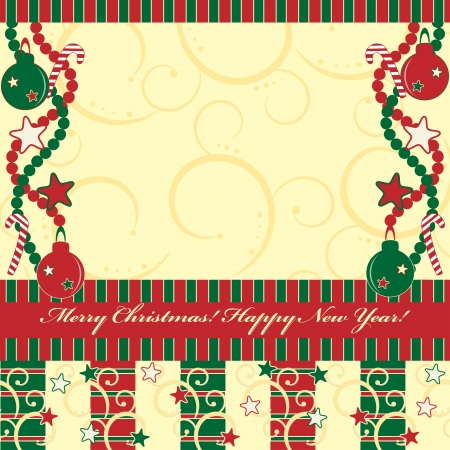 Christmas and New Year greeting card with gifts  Vector