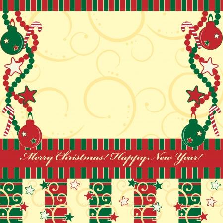 fragmentary: Navidad y tarjeta de saludo de A�o Nuevo con regalos