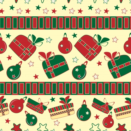 Christmas and New Year seamless pattern with gifts  Vector