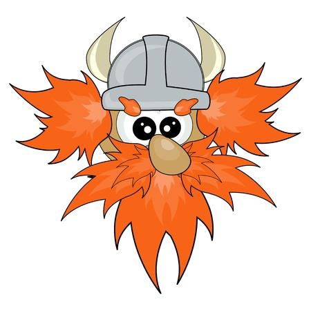 cartoon warrior: Viking face illustration
