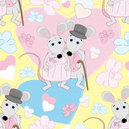 Cute mouse seamless pattern for kids  Vector
