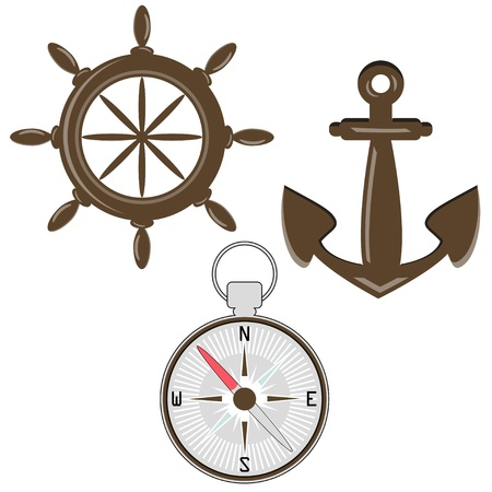 Set of wheel, compass and anchor Vector