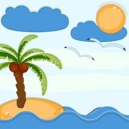 Palms and sea pattern Illustration