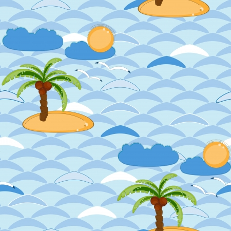 Seamless background with sea and palms Vector