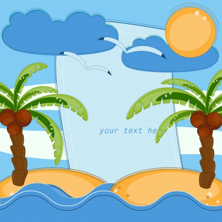 caribbean party: Invitation card with palms and sea