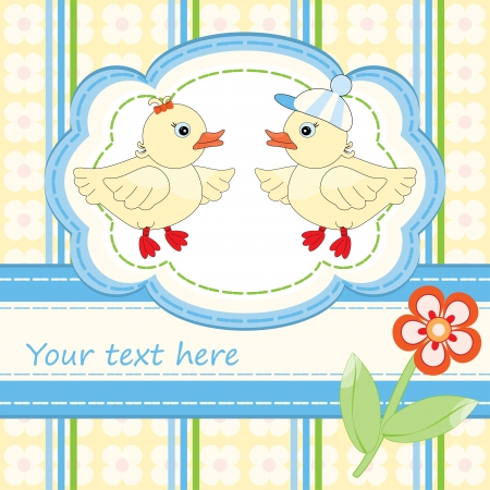 Greeting card with cute ducks for babies