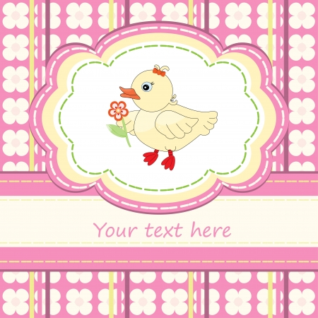 Greeting card with cute duck for babies Vector