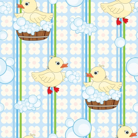 Seamless pattern with cute ducks in tub Vector