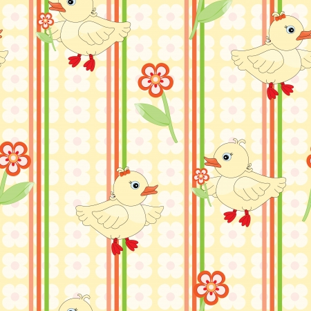 Seamless background with cute duck pattern Vector