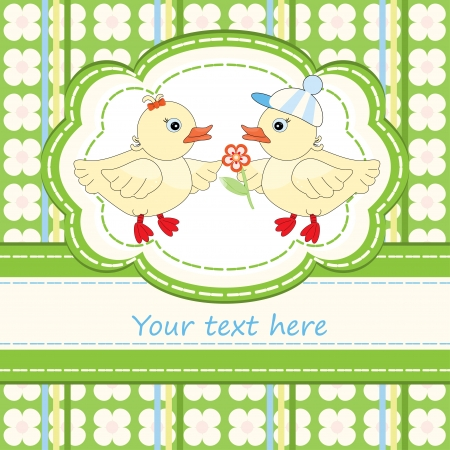 Baby shower with cute duck pattern Illustration