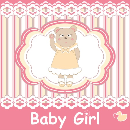 Baby shower greeting with bear Vector