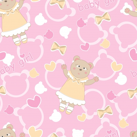 Baby shower seamless pattern with cute bears Vector