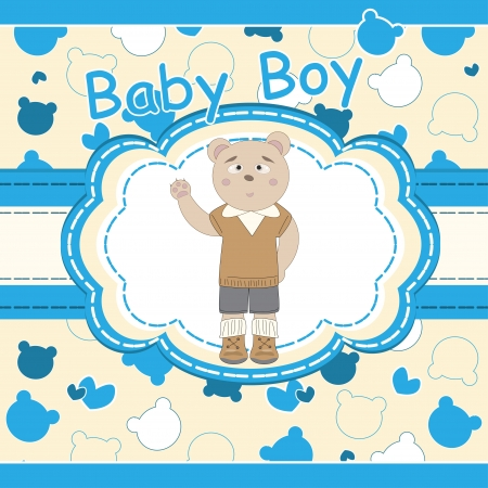 Baby shower greeting card with cute bear boy  Stock Vector - 15696134