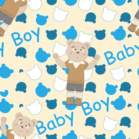 Baby shower seamless pattern with bears  Vector