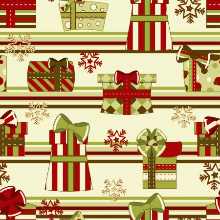 Christmas and New Year seamless pattern with gifts. Illustration  Vector