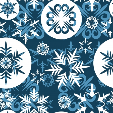 Christmas and New Year seamless pattern with snowflakes. Illustration