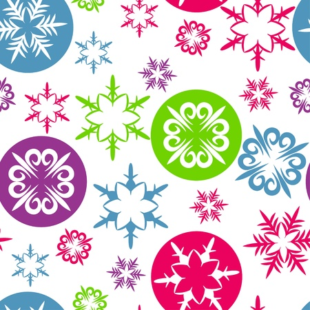 Christmas and New Year seamless pattern with colorful snowflakes. Illustration