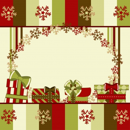 Christmas and New Year greeting card with gifts. Illustration  Vector