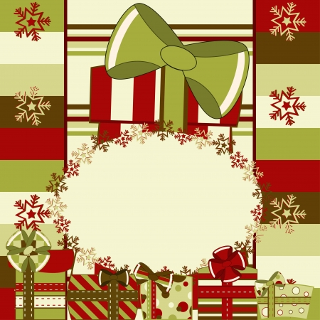 Christmas and New Year invitation card with gifts. Illustration