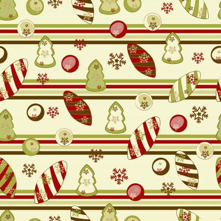 Christmas and New Year seamless pattern with decors. Illustration