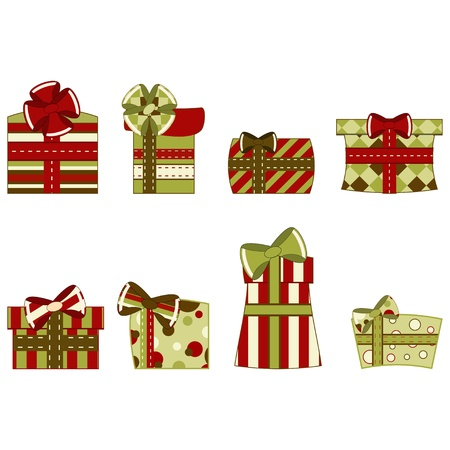 Set of gift boxes. illustration  Illustration