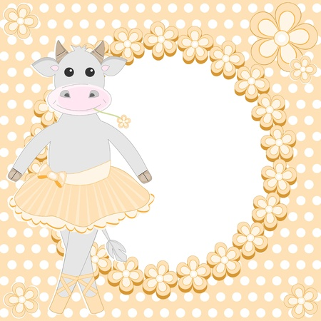 Greeting card with cute cow ballet dancer Vector