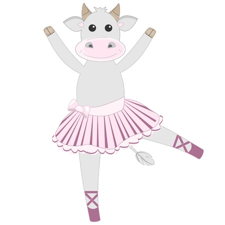 Cute cow ballerina pattern Vector