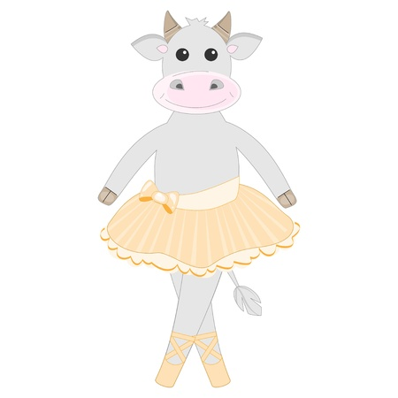Cute cow ballet dancer pattern Vector
